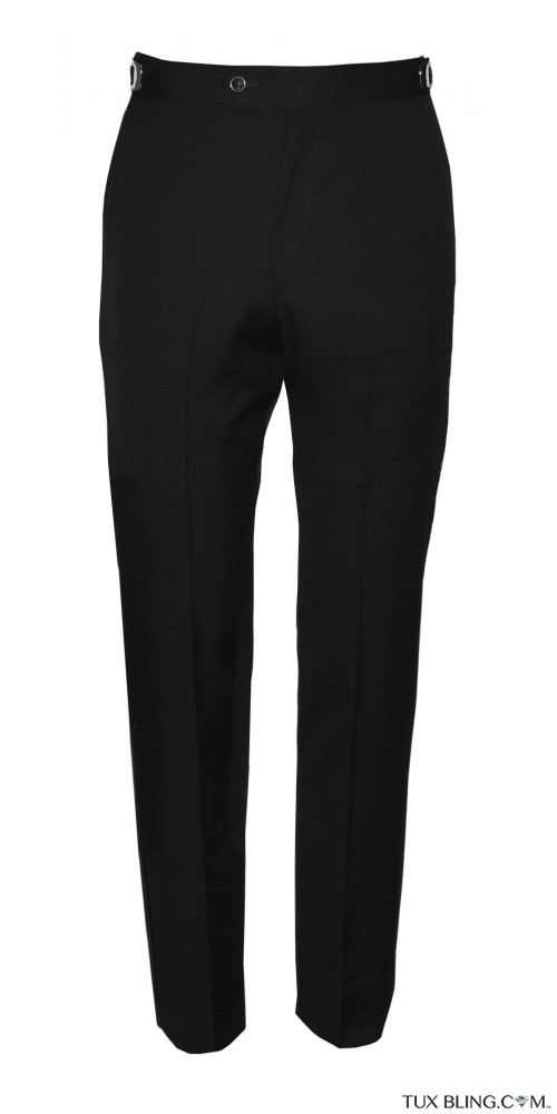 BLACK SUPER 120'S WOOL ULTRA SLIM  FIT TUXEDO PANTS