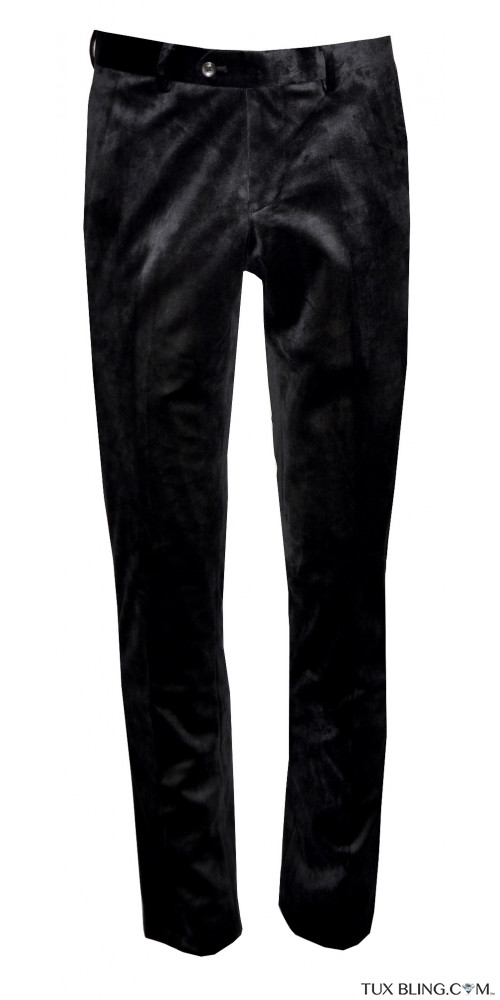 BLACK VELVET PANTS - SLIM FIT