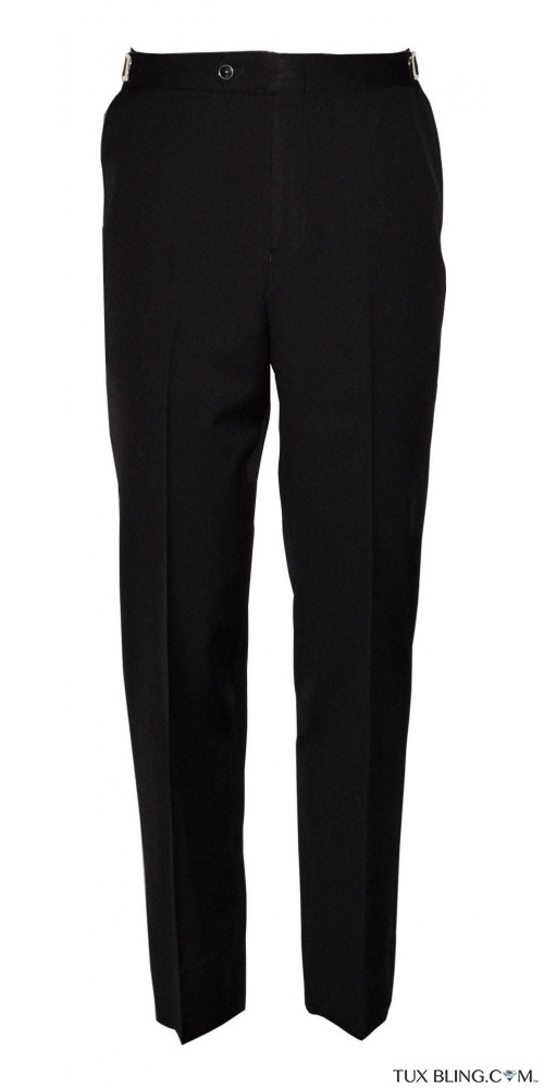 BLACK SUPER 120'S WOOL TAILORED FIT TUXEDO PANTS