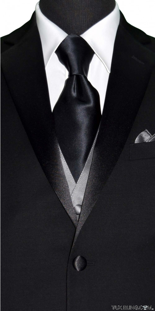 BLACK SILK LONG DRESS TIE - TIE YOURSELF