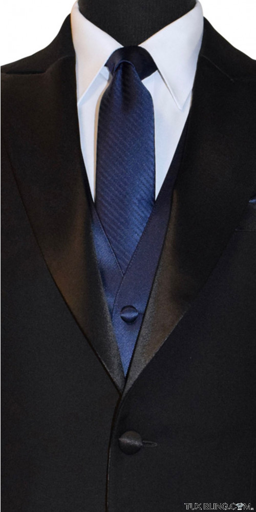men's navy long tie with stripe by San Miguel Formals