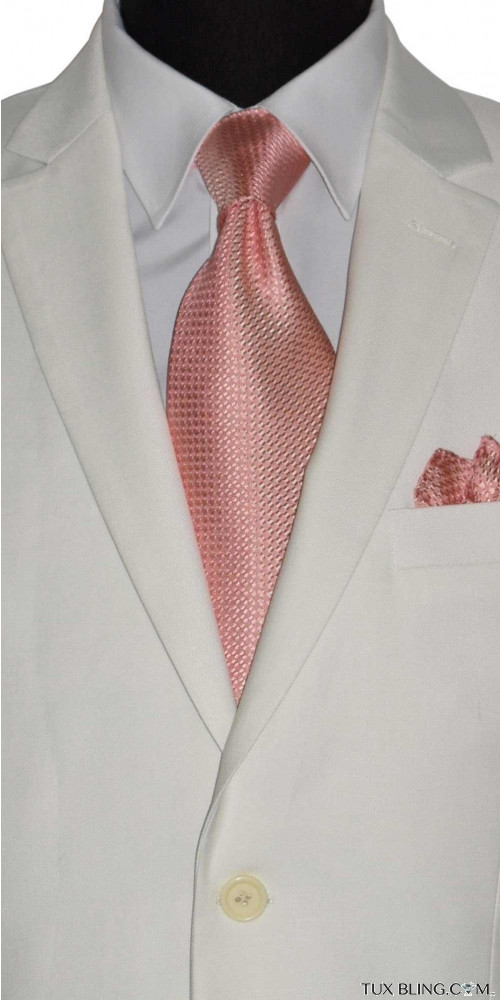 CORAL PEACH SILK WOVEN DRESS TIE