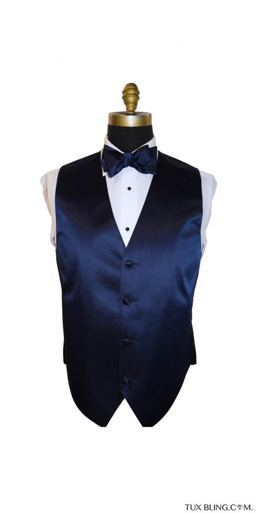 navy blue tuxedo vest and bowtie by San Miguel Formals