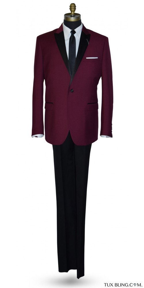 BURGUNDY TUXEDO WITH BLACK PANTS ENSEMBLE