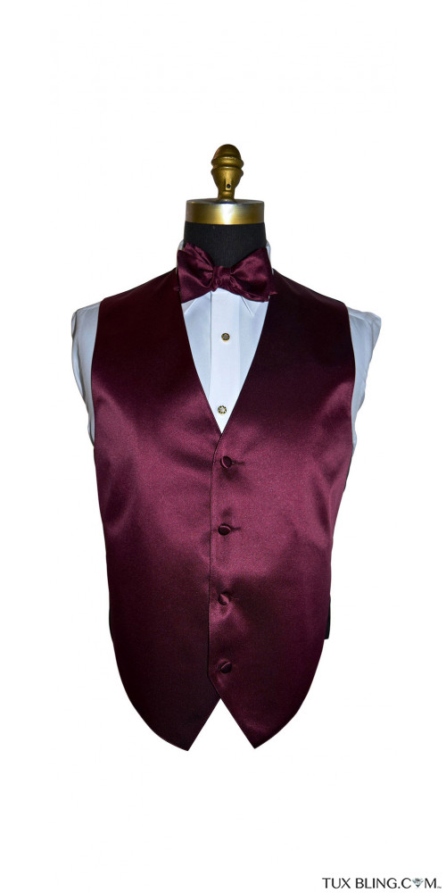 men's wine tuxedo vest and bowtie by San Miguel Formals