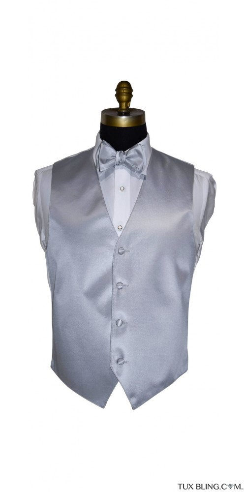 men's silver vest and silver tie-yourself bowtie