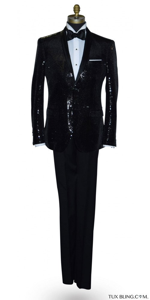 Black Sequins Shawl Collar Tuxedo Ensamble