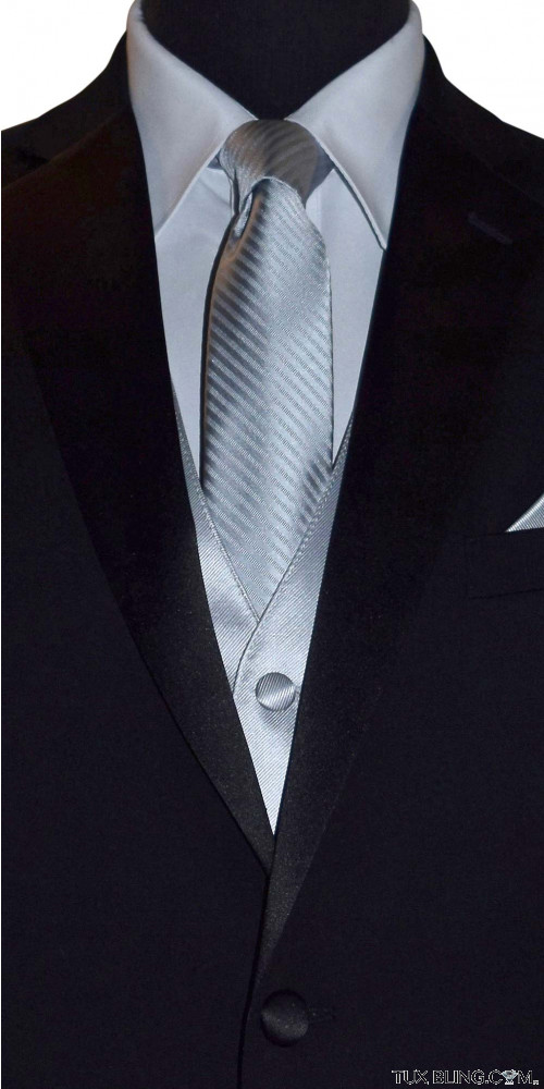 men's long silver tie with stripe by San Miguel Formals