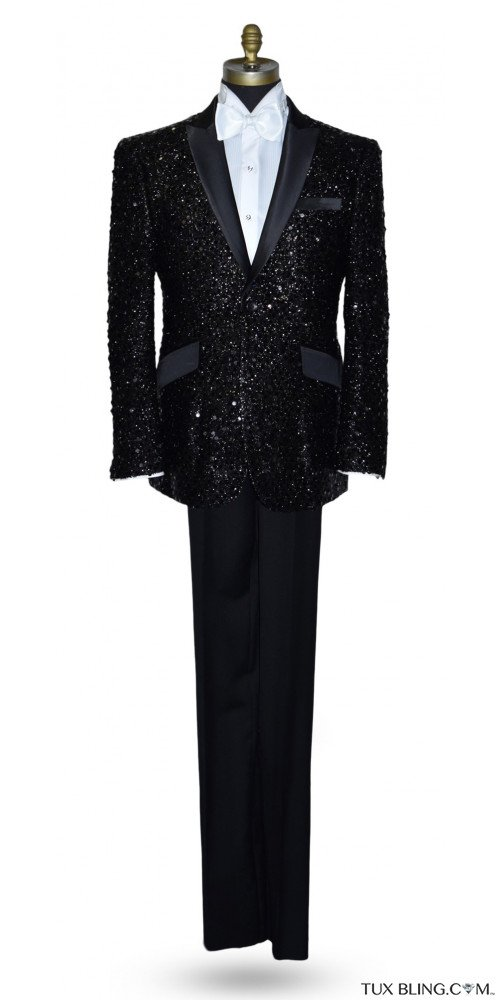 Black Sequins Tuxedo Ensemble