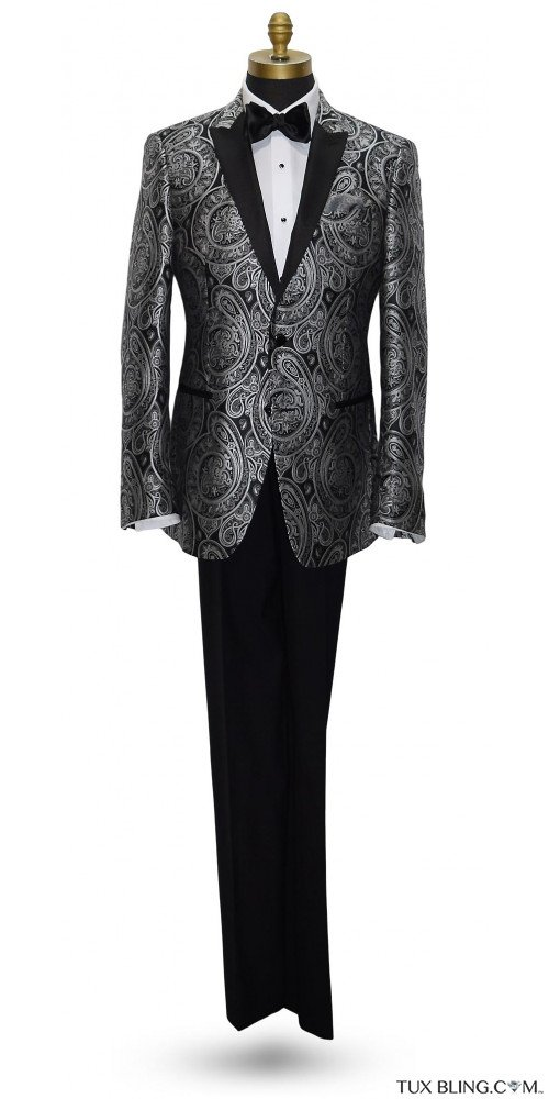Black with Silver Paisley Tuxedo