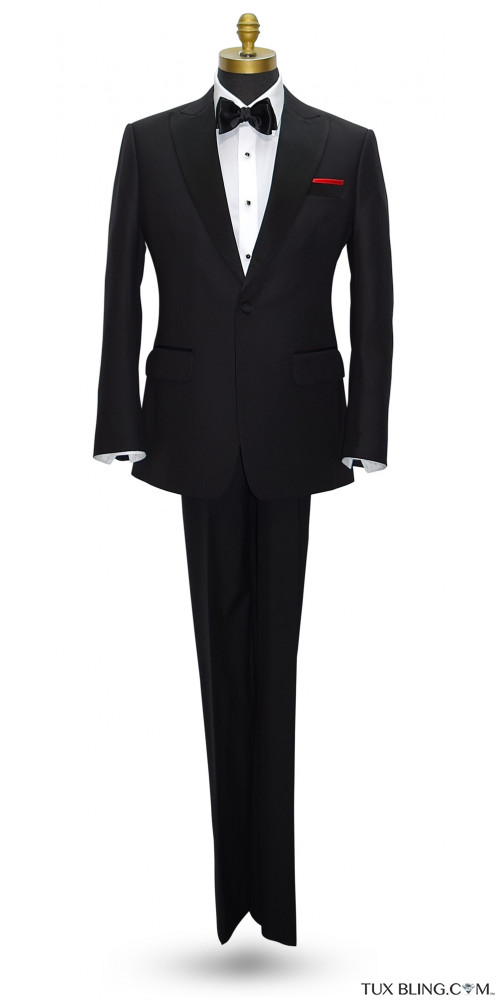 Black Peak Lapel Tuxedo Set - Coat and Pants Ensemble.
