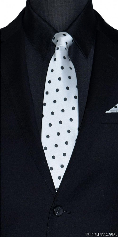 men's white dress tie with black polka dots
