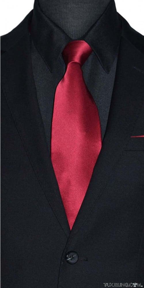apple red silk men's ling dress tie