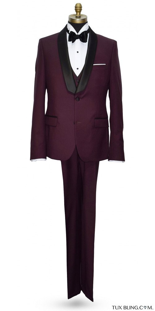 BURGUNDY TUXEDO ENSEMBLE INCLUDING VEST