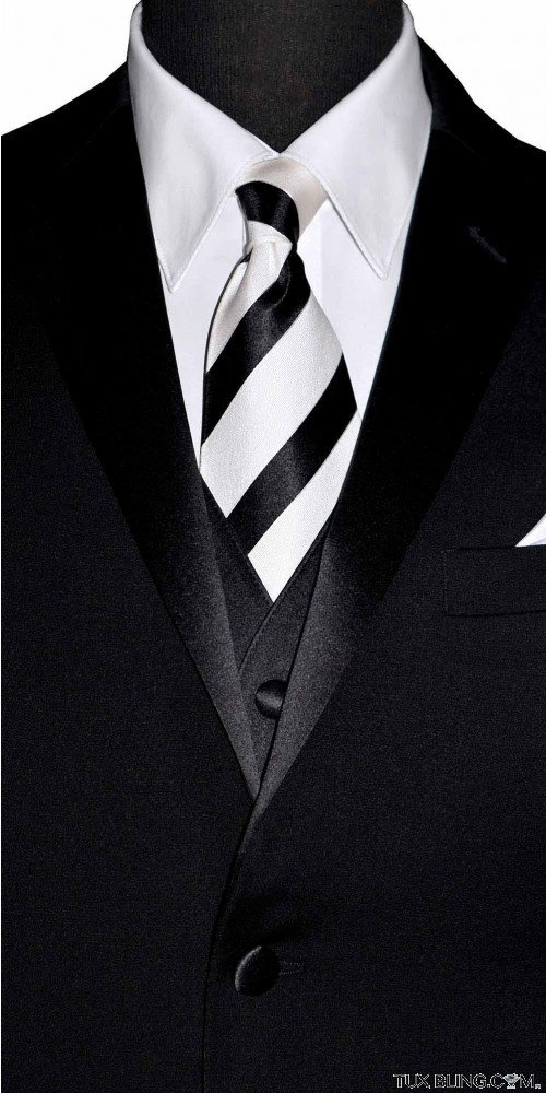 BLACK WHITE STRIPED SILK WOVEN DRESS TIE