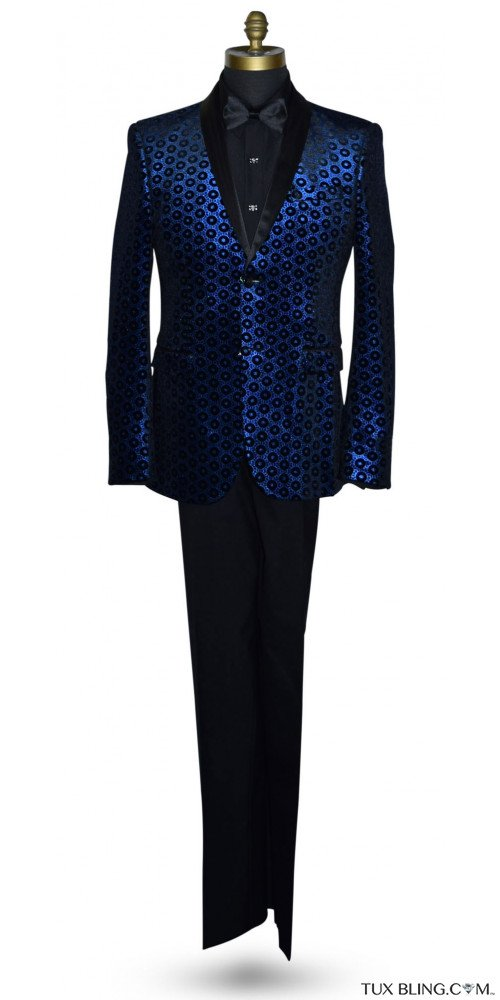 Royal Blue Medallion Velvet Ensemble