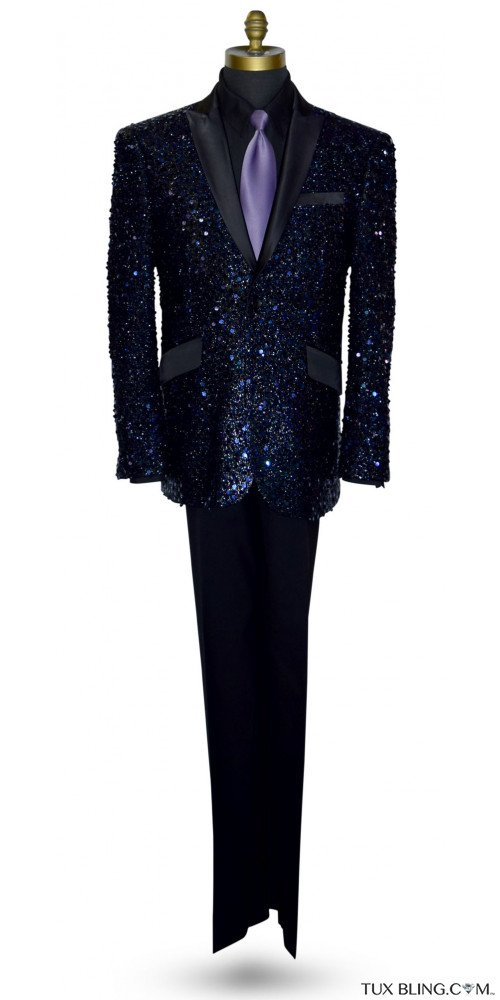 SEQUINS TUXEDO BLACK AND PURPLE
