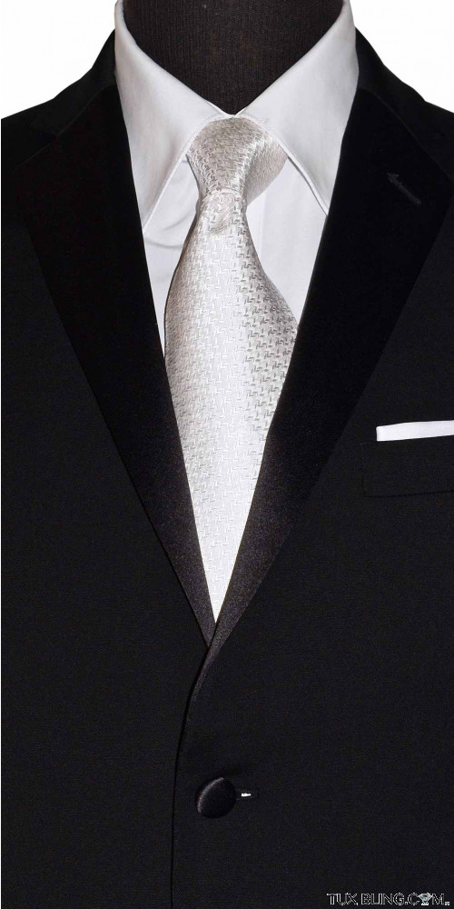 WHITE WOVEN SILK DRESS TIE
