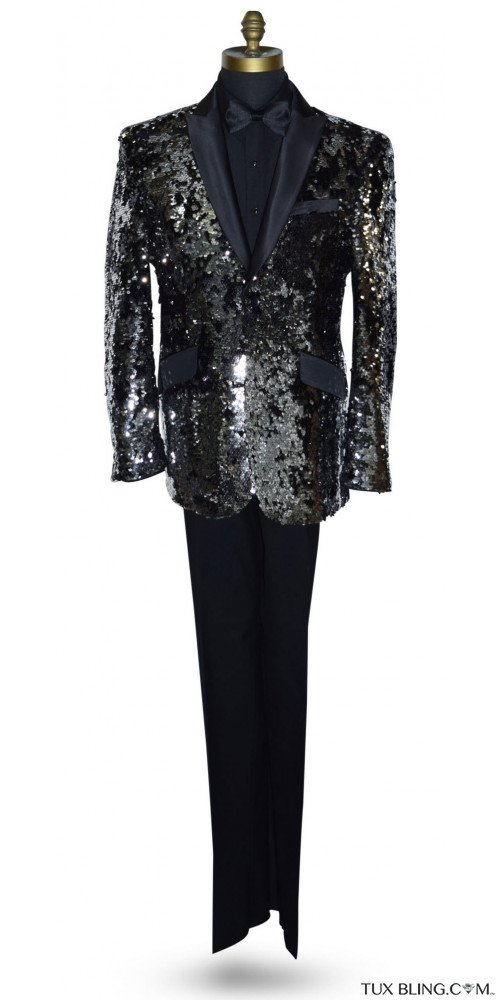 Black and Silver Sequins Tuxedo Ensemble