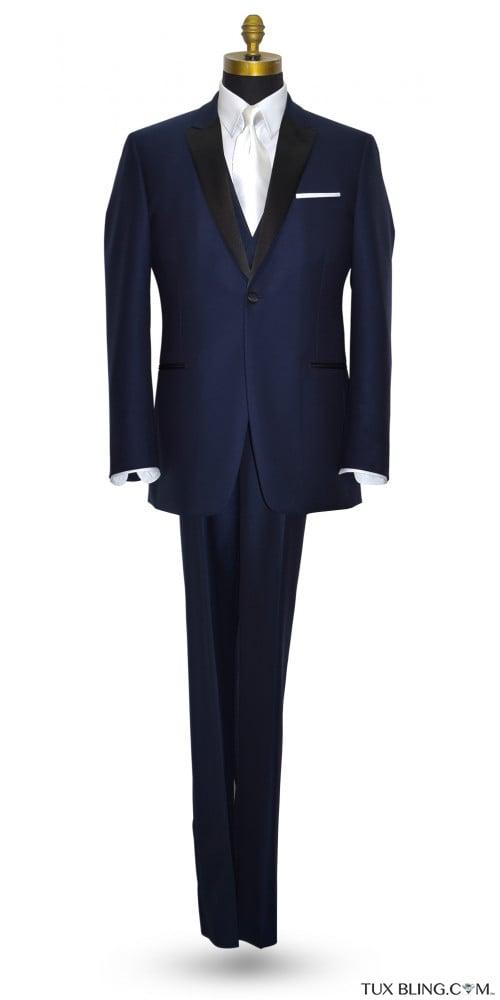 NAVY BLUE TUXEDO WITH BLACK PEAK LAPEL - COAT AND PANTS SET