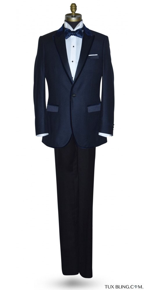 Navy Blue Tuxedo with Velvet Trim Ensemble