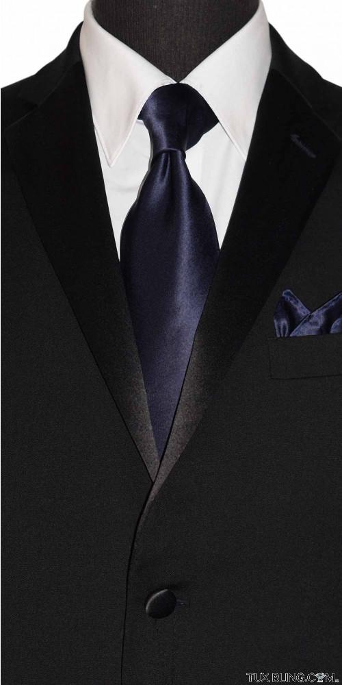 midnight blue men's dress tie silk