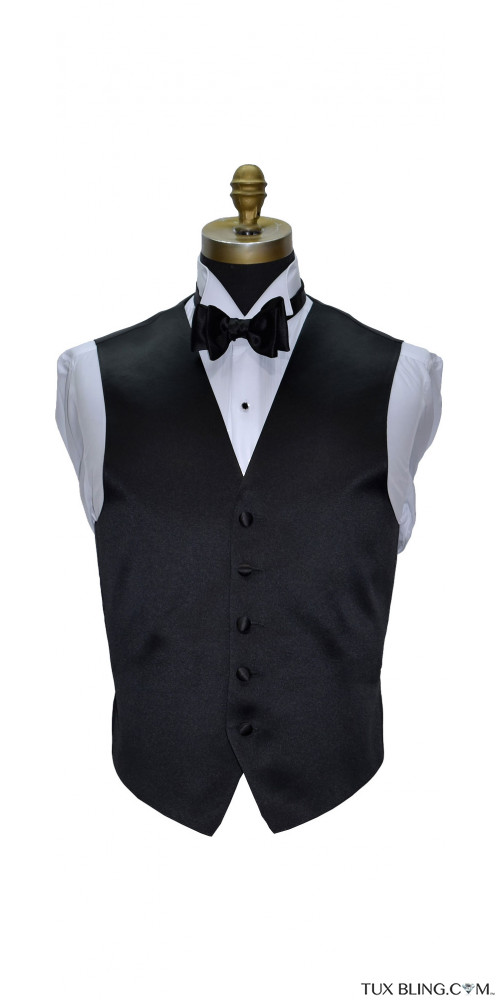 men's black satin tuxedo vest with black bowtie