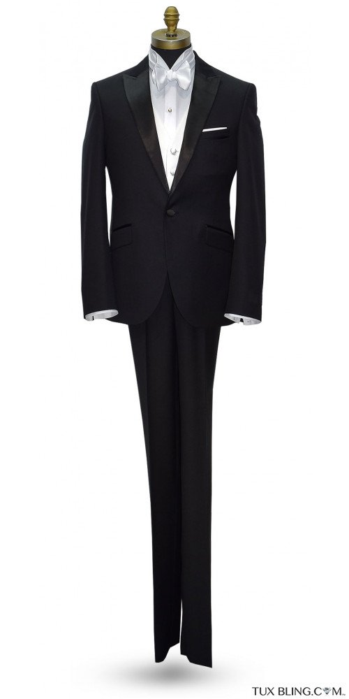 BLACK MEN'S PEAK LAPEL TUXEDO - ULTRA SLIM FIT- COAT AND PANTS SET