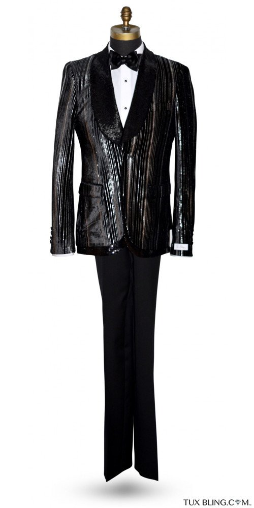 SHAWL COLLAR WITH VELVET AND SEQUINS