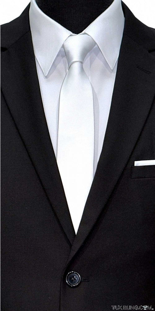 white satin skinny men's tie at TuxBling.com