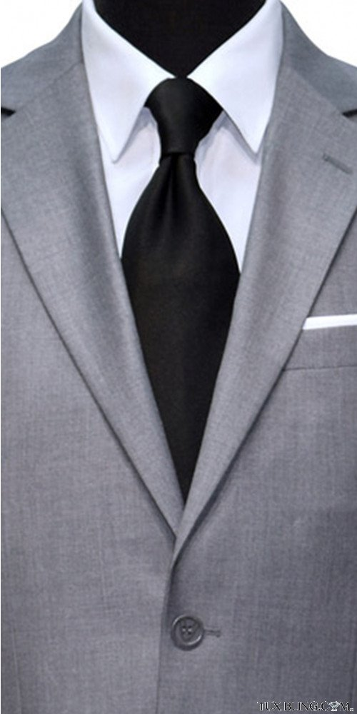 men's black dress tie with light gray men's suit at TuxBling.com