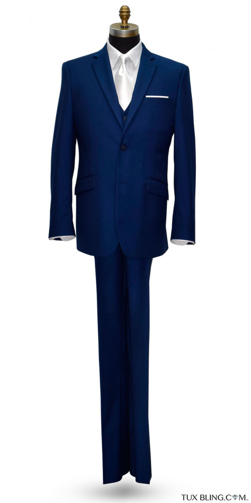 INDIGO BLUE MENS SLIM FIT SUIT ENSEMBLE