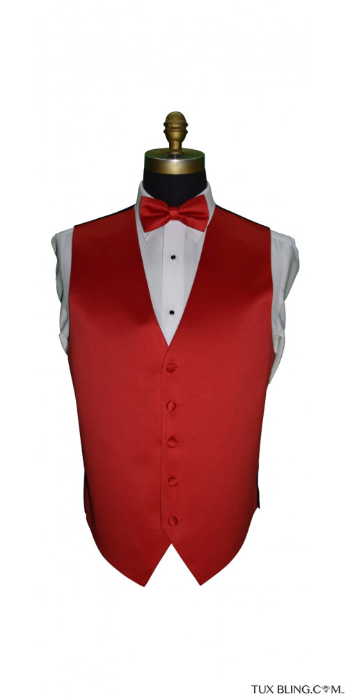 men's red satin vest and bowtie on tuxbling.com