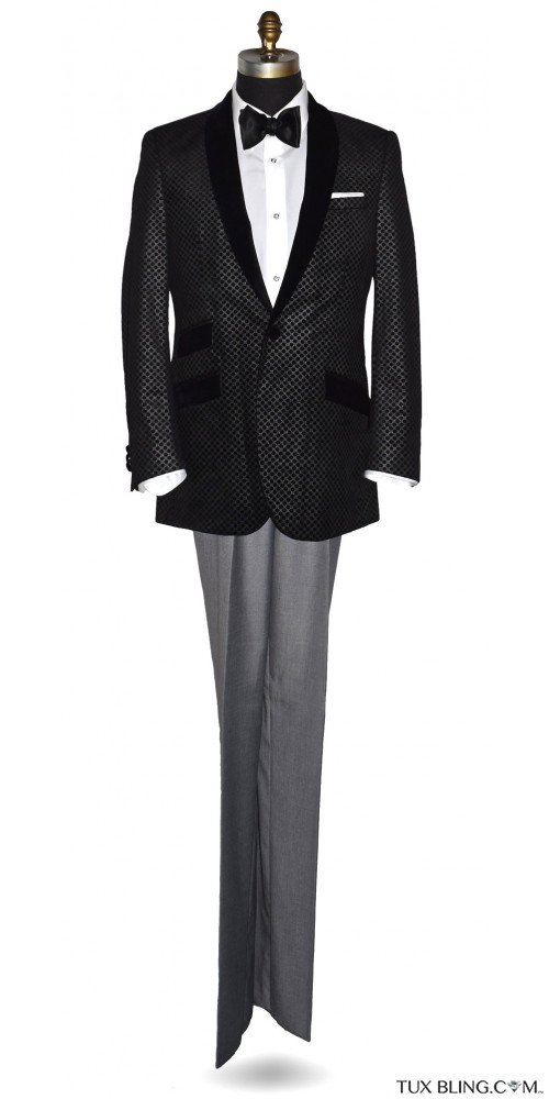 Black Velvet with Silver Geometric Design Shawl Collar Dinner Jacket/Tuxedo- Ensemble