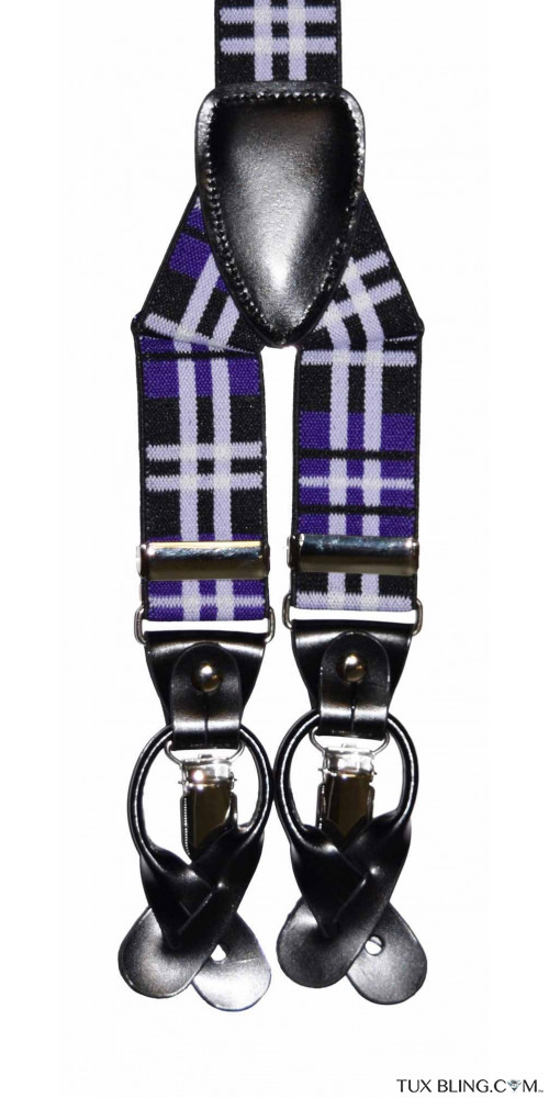 REGENCY PURPLE PLAID SUSPENDERS