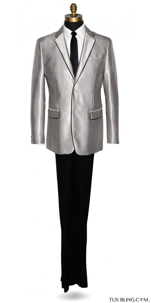 Versace Platinum Tuxedo-Suit with Black Pants