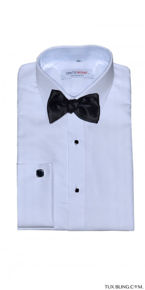 Dante Inferno White Tuxedo Shirt-Slim Fit