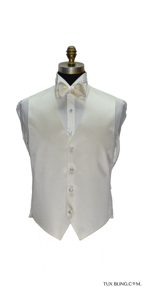 men's and boys off-white tuxedo vest with off-white tie-yourself bowtie by San Miguel Formals