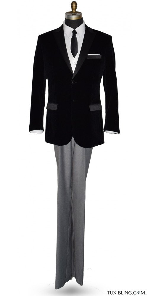 Black Velvet Dinner Jacket/Tuxedo - Ensemble