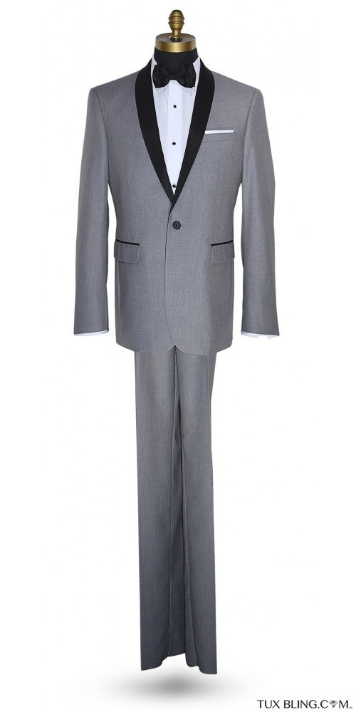 LT. GRAY SHAWL COLLAR TUXEDO AND PANTS SET