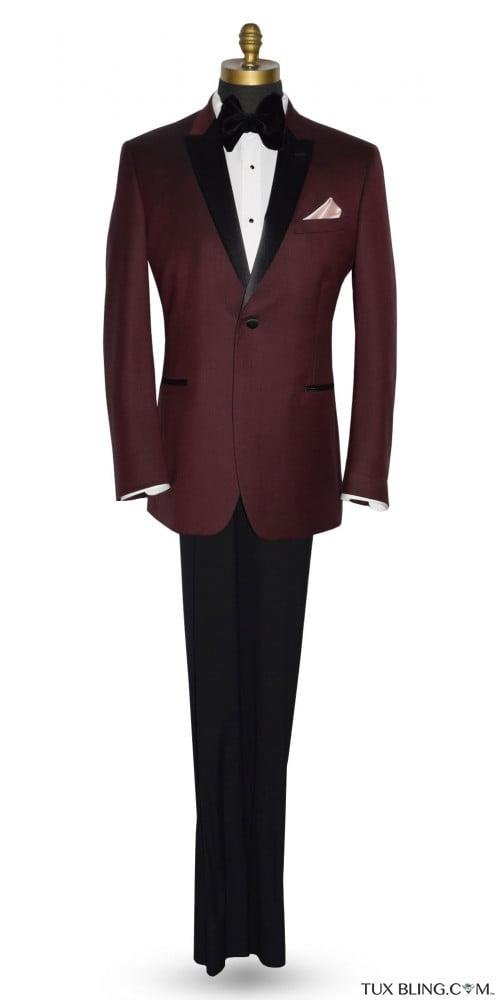 Men's Burgundy Tuxedo Jacket With Black Peak Lapel