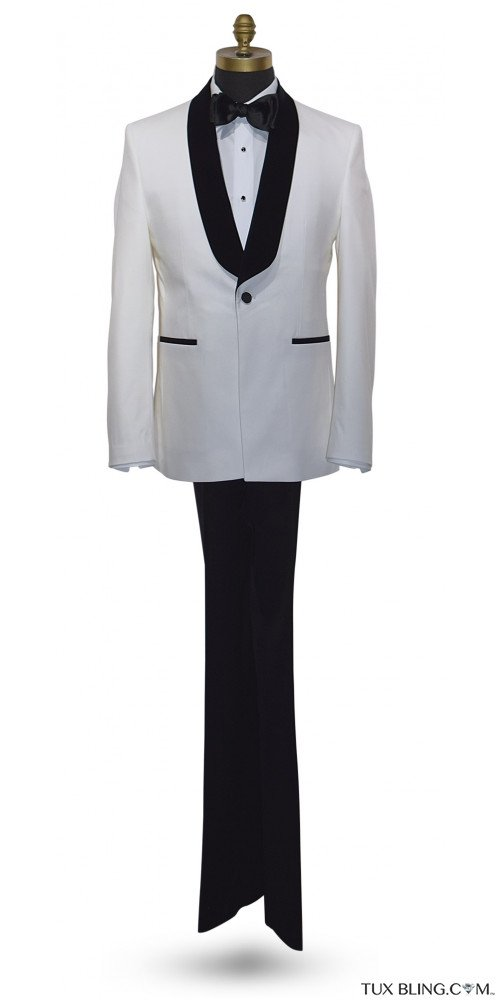 OFF-WHITE SLIM FIT TUXEDO WITH BLACK SHAWL COLLAR