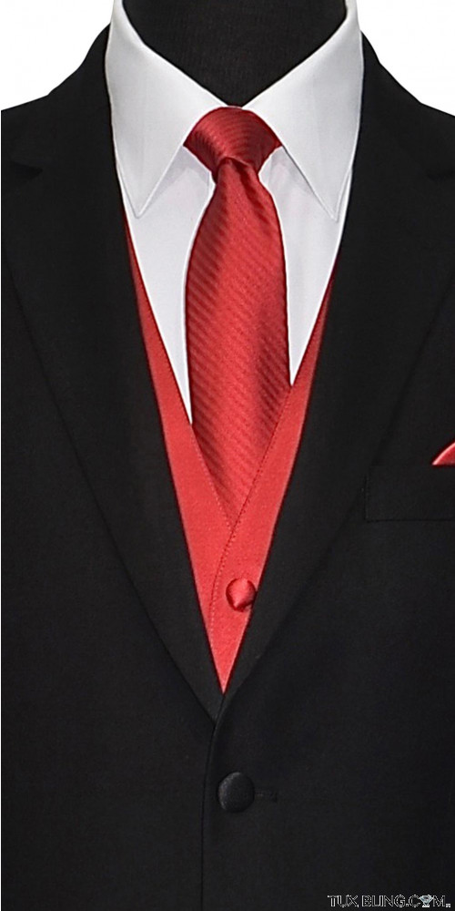 red men's long tie with red vest by San Miguel Formals
