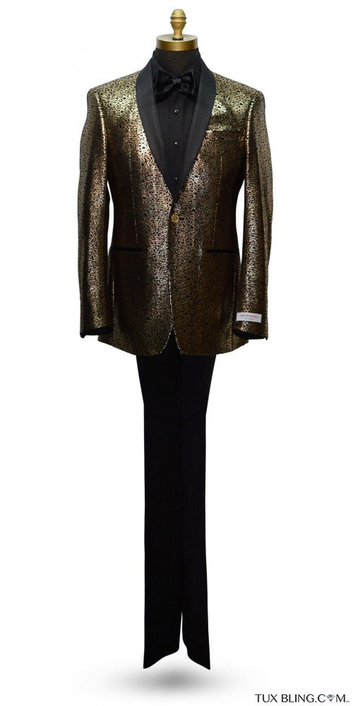 BLACK AND GOLD SHAWL COLLAR TUXEDO