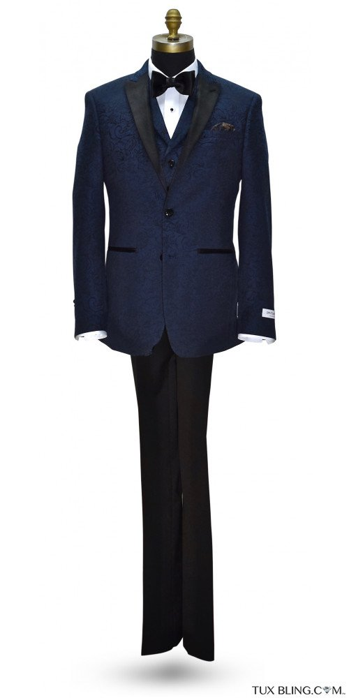 NIGHT BLUE PAISLEY TUXEDO ENSEMBLE