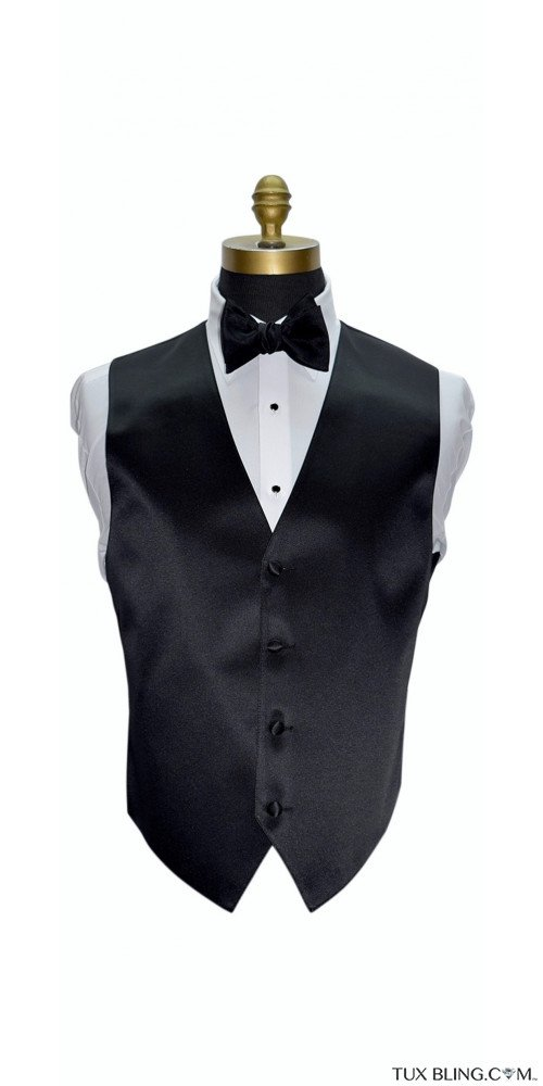 black tuxedo vest with black self-tie bowtie by San Miguel Formals