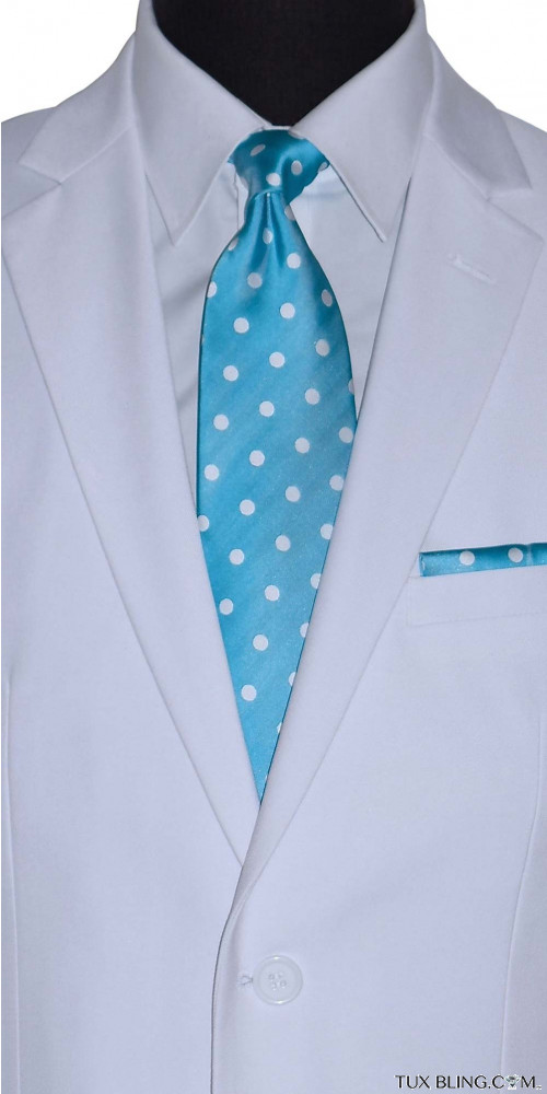 turquoise men's long dress tie with white polka dots