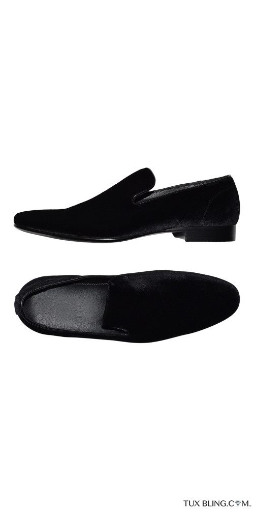 BLACK VELVET SLIP-ON MENS PUMP