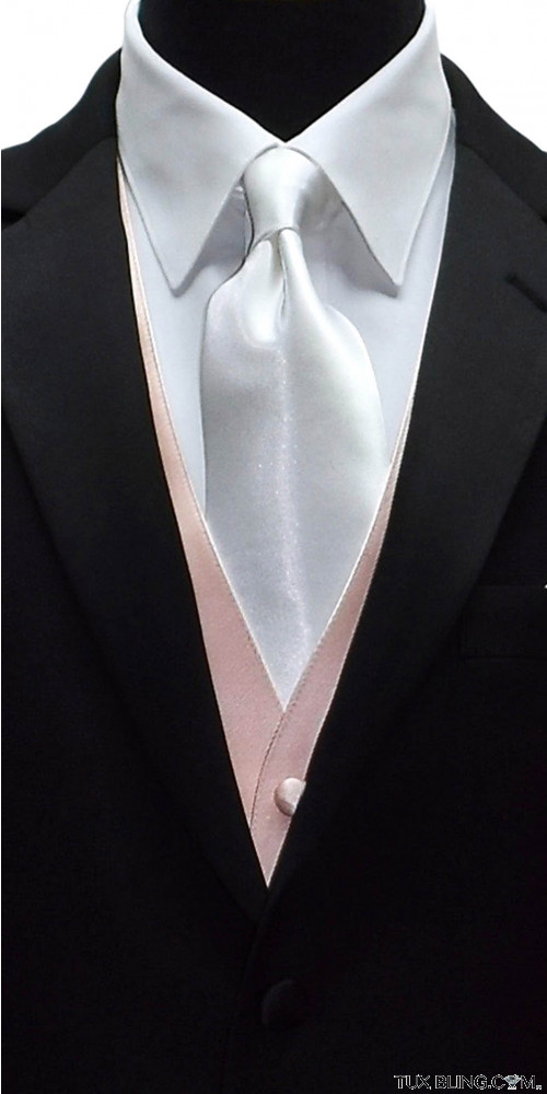 men's long white dress tie with blush color men's vest