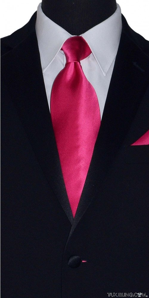 hot pink men's tie with hot pink pocket handkerchief